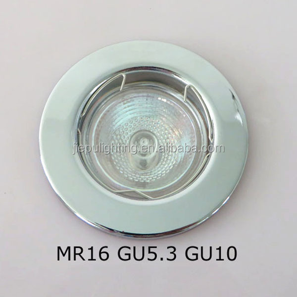 China wholesale MR16 round chrome iron downlight spotlight fitting with metal ring