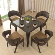 Rooms to go outdoor rattan wicker dining table set furniture