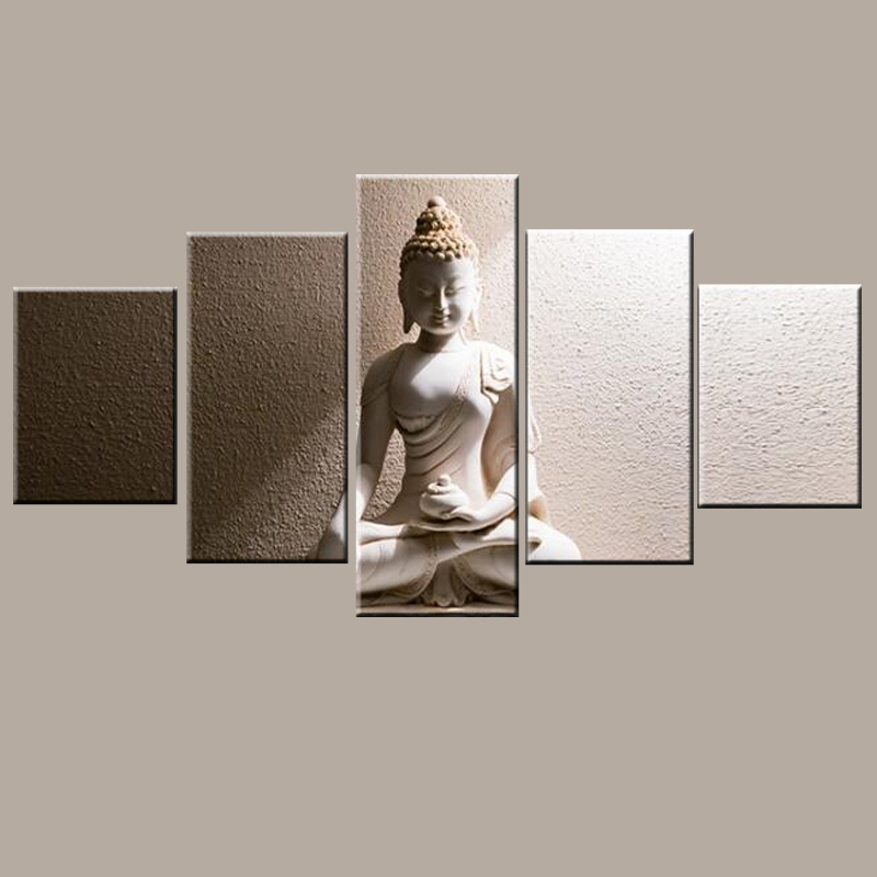Oil Medium and giclee digital printing wall art decorative 5 panel buddha painting