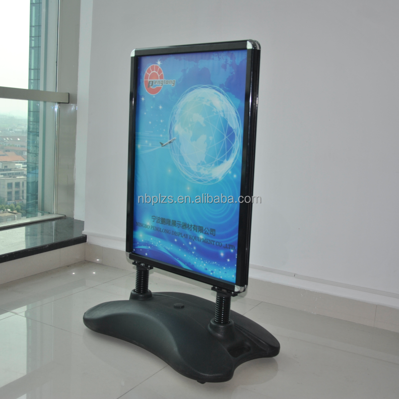 Black double sided water-filled base with springs outdoor sidewalk signs,50x70 sidewalk poster stands