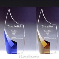 Crystal color glass trophy customized golden metal trophy for sport champion award souvenir