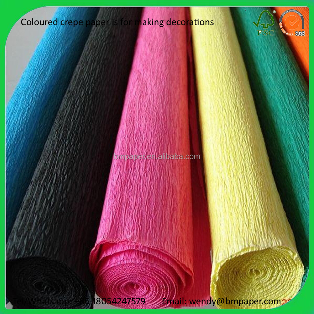 Coloured crepe paper used for making decorations