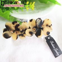 Wholesale acetate four flowers high quantity barrette clips with rhinestones