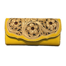 Pure handmade leather wallet carved flower pattern long custom wallet YFW170701