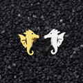 Stainless Steel Marine Animal Seahorse Gold Silver Stud Post Earrings for Girls and Women