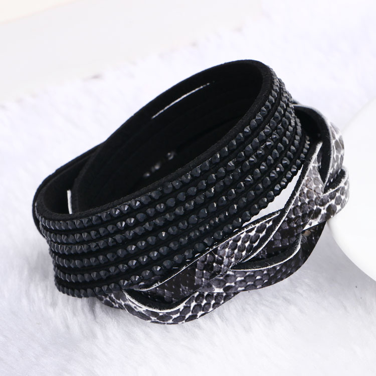 Woven Double wrap velvet leather cuff with slake crystal beaded bracelet