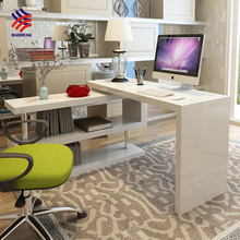 Hot sale high class white high gloss office counter study table computer desk