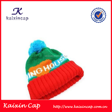 children customized color stripe knitted pom beanie hat