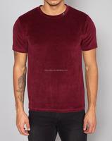 Men's cotton velour crew neck T shirt