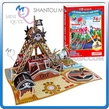 Mini Qute Pirate Ship Fairground building block 3d paper puzzle model cardboard jigsaw puzzle game educational toy NO.B368-14