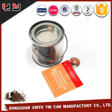 Empty coffee tin packing hinged aluminum can canister Transparent clear plastic lid large metal airtight coffee tin with handle