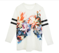100% fine ring-spun combed cotton 180 gsm white long sleeves printed tee t-shirt for woman