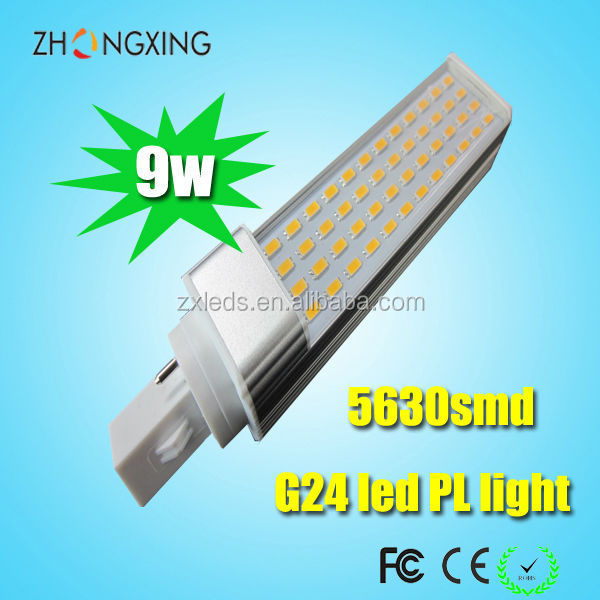 CE RoHS High Power G24 LED Lamp PL Lights 9Watt 220V LED Cool White 6400K with Nice Heat Dissipation