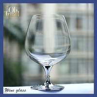 unique high quality food safety cheap metal stem crystal brandy wine glasses/snifters