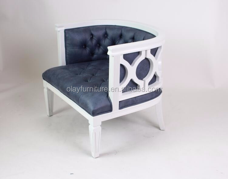<strong>Antique</strong> Solid Oak Wood Button Tufted French Accent Chair Linen Upholstered Wooden Frame Armchair