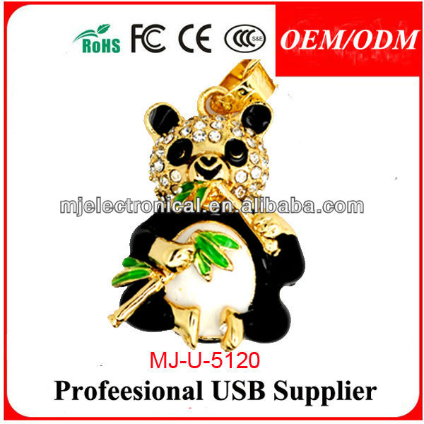 Cute Panda Shape Usb Flash Drive Crystal,Panda Pen Drive Jewelry Memoria Usb 8gb