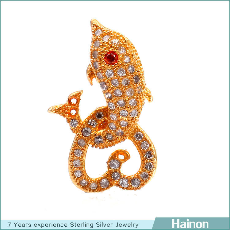 fish shape sterling silver beads pave micro zircon factory wholesale