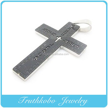 Two Tone Stainless Steel Jesus Cross Pendants,Christian Crucifix Pendant, Mental Polished Alphabet Letter Cross