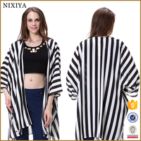 Stylish Ladies Women Turn-down Collar Vertical Striped Casual Shirt Blouse
