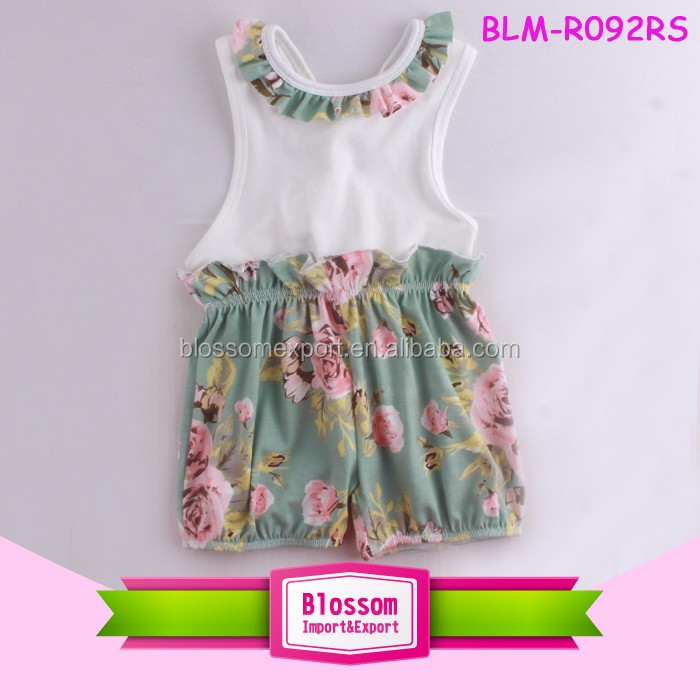 Cheap Infant Clothing Summer Baby Bubble Jumpsuit Floral Girls Stylish Boutique Rompers