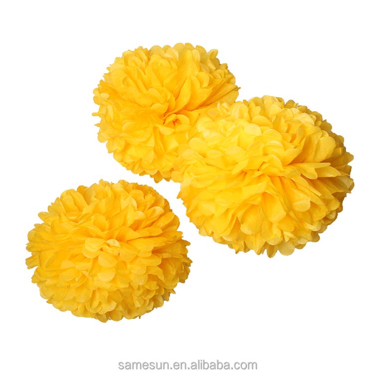 gelbe seidenpapier pom poms h ngen blume ball gro gro handel blumen girlanden produkt id. Black Bedroom Furniture Sets. Home Design Ideas