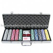 500 Poker Chip Set in Silver Aluminium Case w/ Tournament Pro Chips
