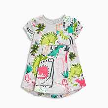 new product for 2017 baby birthday sundress with dinosaurs printing cotton jersey cute mini <strong>girl's</strong> <strong>dress</strong> with side pocket
