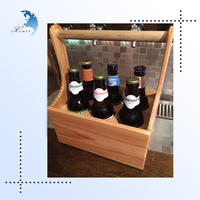 Custom Logo 6 Bottle Wooden Wine/Beer Carrier,Wooden Holder Tote Accept OEM