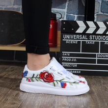 2017 New Design Embroidered white Leather Ladies Fashion Flat Shoes China,Women Casual Shoes