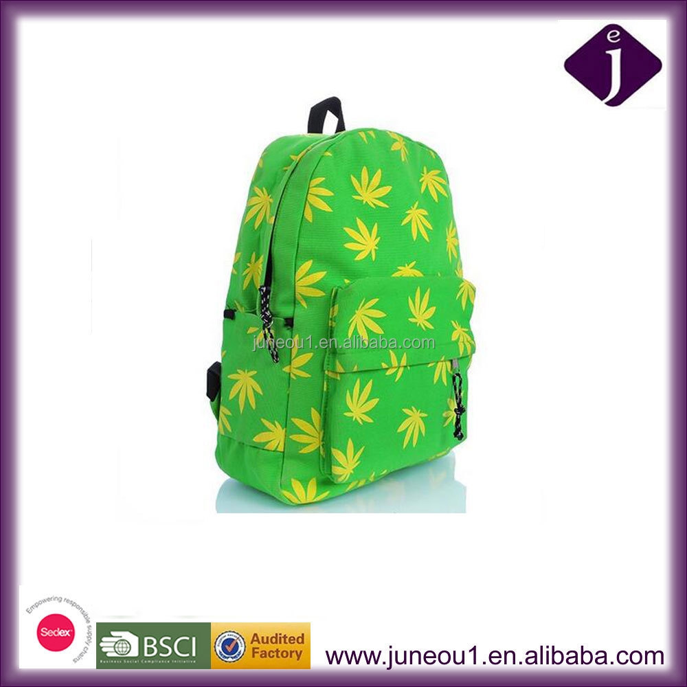 New Design Green Canvas School Backpacks Yellow Leaves Fashion Backpack Bag China Wholesale BP019