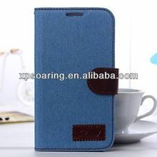 Mobile phone leather case for Galaxy Note 2 N7100 jeans design