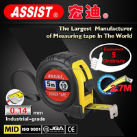 assist brand water proof 5m ABS quality plastic+TPR promotional best steel Rubber tape measuring,taping measure
