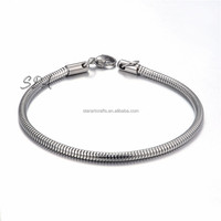 Snake Chain Bracelet 5MM Wide Stainless Steel Round Snake Lobster Clasp Bracelet For Gift Jewelry