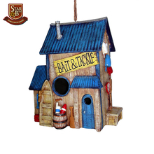 Outdoor decoration painted blue bait shop birdhouse resin birdhouse