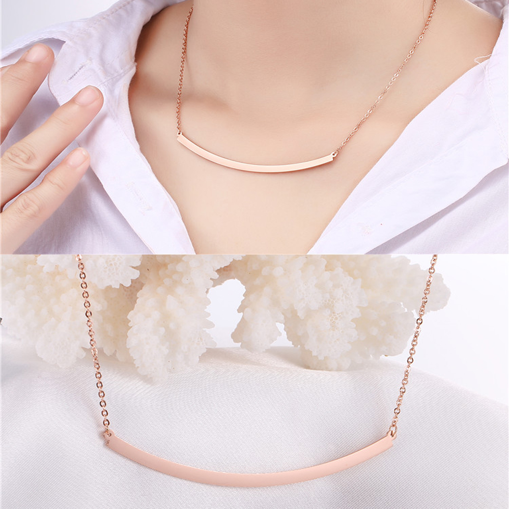 Bar necklace Korean jewelry rose gold necklaces women 2017