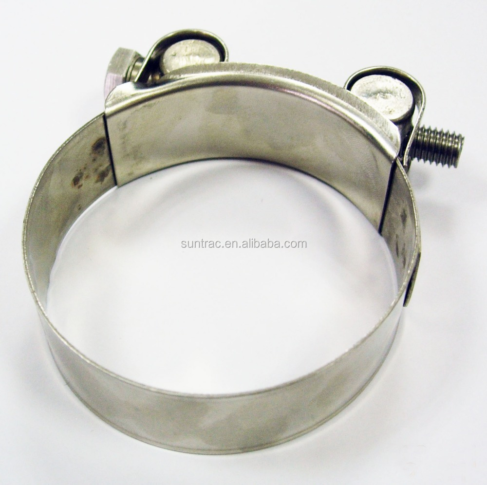Single T-bolt heavy duty with soild nut 304 stainless steel super hose clamp