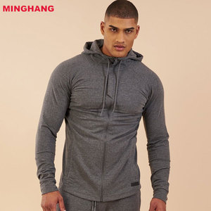 Custom OEM Factory Heather Cotton Spandex Gym Workout Compression Training Men Wear Zipper Hoodies