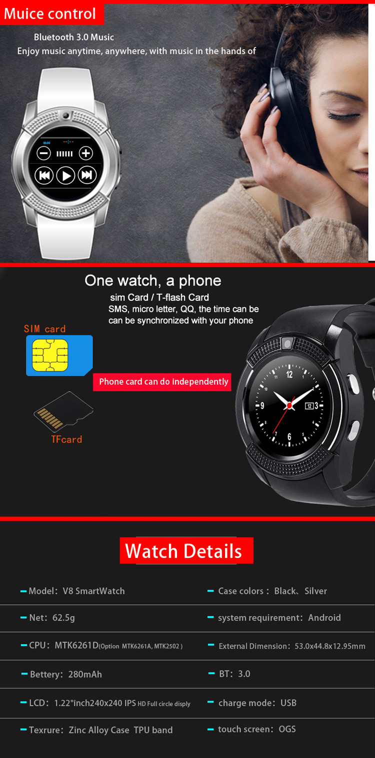 Mtk 6261 Gsm Wrist Smart Watch Phone, Smart Watch Gv08, Zd09 Smart Watch