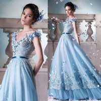 Sky Blue Appliqued Lace Silk Ball Gown Wedding Dresses Pictures