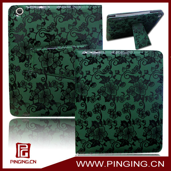 Classical China flower pattern stand holder leather tablet case for ipad 2