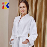 Waffle Weave Spa Bathrobe Luxurious Lightweight White Robes for Hotel