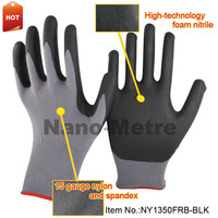 NMSAFETY 15 gauge grey nylon and spandex liner coated black high-technology foam nitrile cheap work gloves