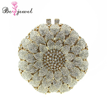 WZB006 Cheap Ladies Purse Round Gold Flower Couture Clutch Bag Crystal Bridal Clutch For Special Evening Outfit