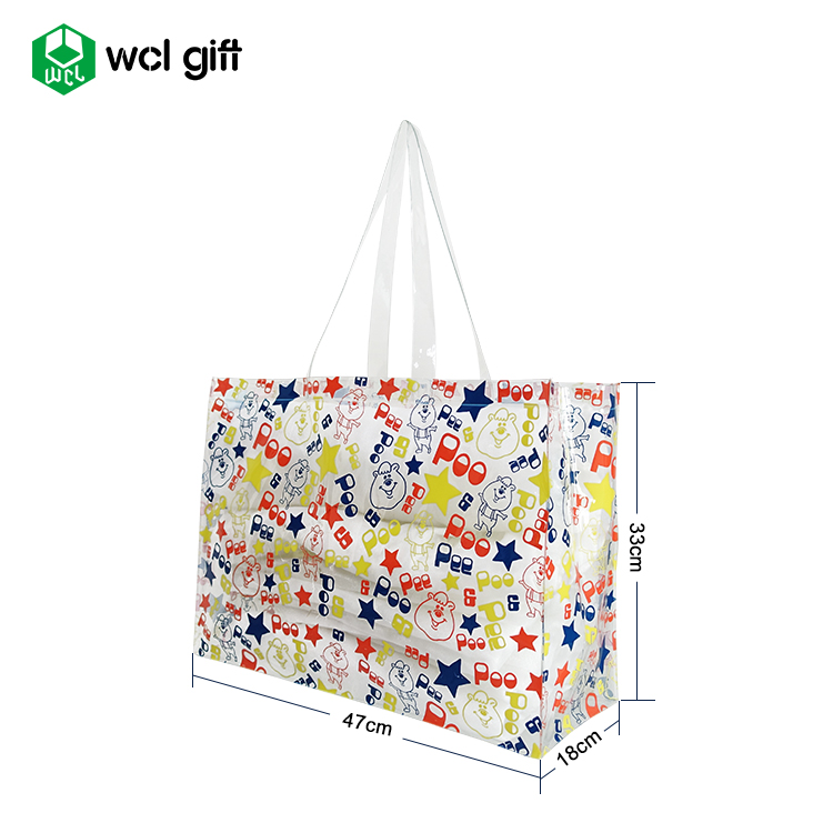 Best gift shopping  waterproof beach clear PVC tote bag reusable grocery shiny bag long handles Women Gender Tote Bag
