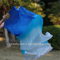 2PCS(Left+Right), Pure Silk Belly Dance Fan Veils, Size 1.8*0.9M, BLUE/TURQUOISE/WHITE