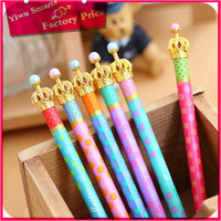 High quality small moq low price kids stationery wholesale new model pearl beaded crown design ball pen