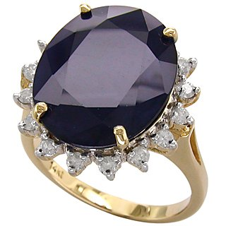 Natural 15.50 ct Sapphire & Diamond Ring 14kt Gold