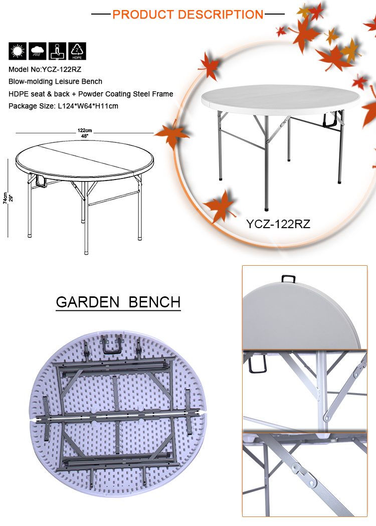 Events Used 4ft Folding Plastic Round Outdoor furniture Table