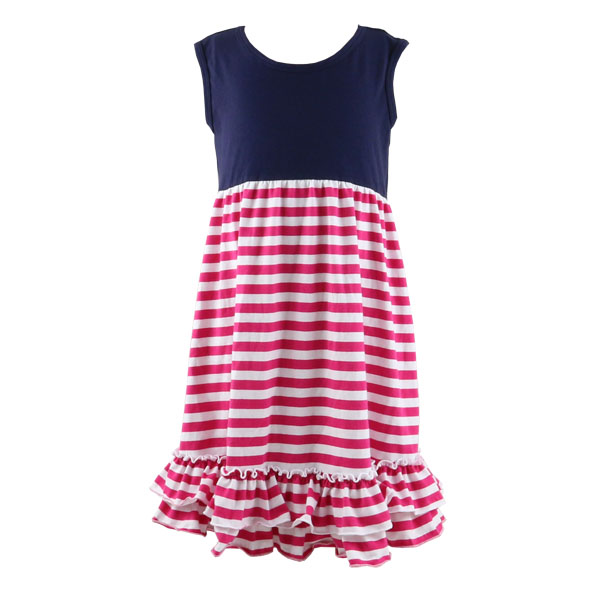 Children clothing 2016 100% cotton knit strip ruffle dress for 12 years girl without dress wholesale boutique cheap clothes