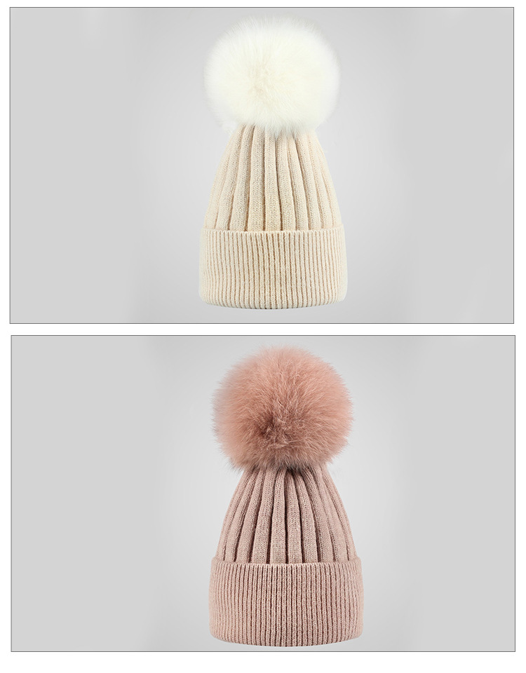 cycling cap Mixed color cycling cap Winter hat rabbit hair knitted hat with fur ball for female lady